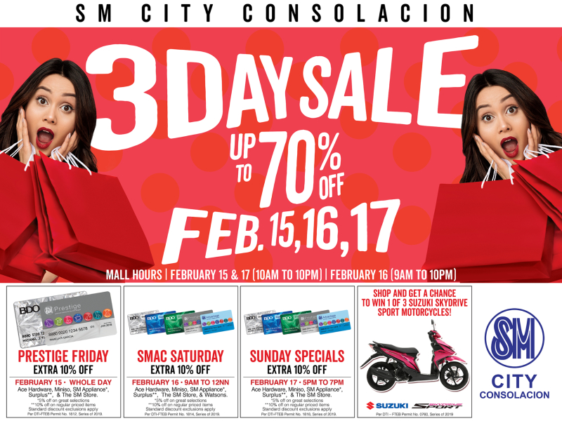 SM CITY CONSOLACION BRINGS 3-DAY SALE On February 15, 16 and 17