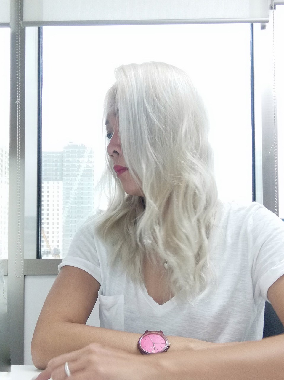 How to Dye Asian Hair White - After Photo